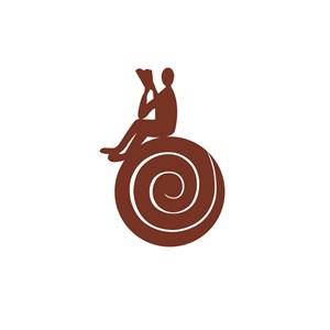 餐饮咖啡行业看书的人物咖啡logo标志