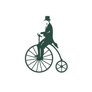 休闲娱乐行业表演骑着单车的演员logo标志