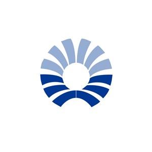 蓝色渐变花瓣图案美容机构logo