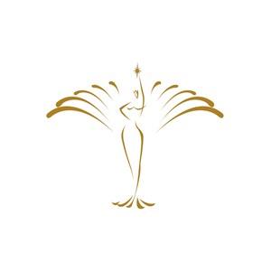 医疗美容业绽放的纤瘦苗条美女logo标志