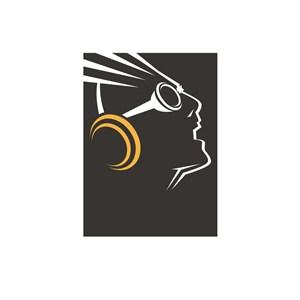 音乐传媒戴着耳机的头像人物logo标志