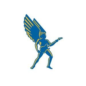 设计传媒抱着吉它的翅膀男logo标志