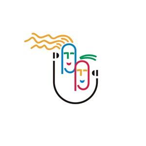 美容行业男女笑脸logo标志