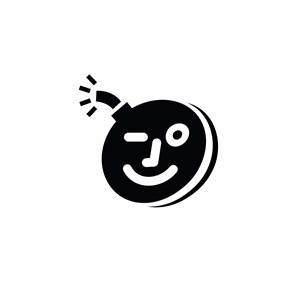 爆炸的鬼脸卡通标志设计