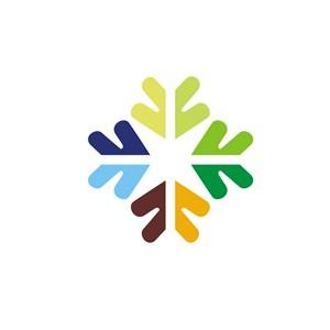 撞色花形标志logo设计
