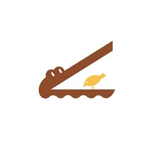 儿童娱乐业鳄鱼吃小鸟logo标志