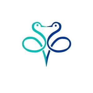 服饰时尚行业两只天鹅亲吻logo标志