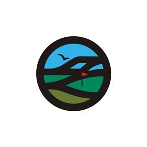 高尔夫运动场景山草地logo标志