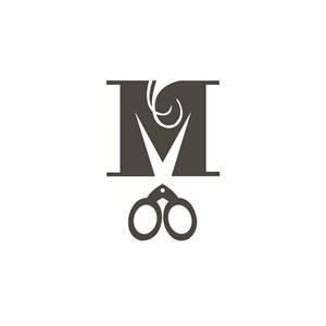 美容美发剪刀M字logo标志设计