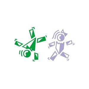运动休闲娱乐人物玩耍翻筋斗logo标志