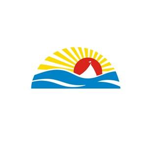 旅游業海邊太陽升起logo標志