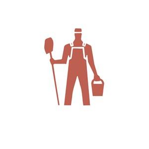 家政行业拿着水桶拖把的男人logo标志
