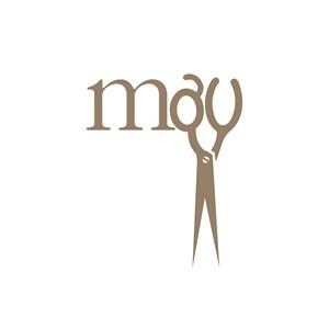 美容美发行业剪刀m字logo设计