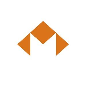 电子机构几何图形M字logo标志