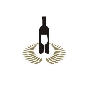 红酒标志设计--酒瓶酒杯图案