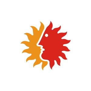 太阳人脸创意设计传媒logo