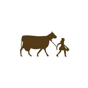 美女牵牛食品标志设计