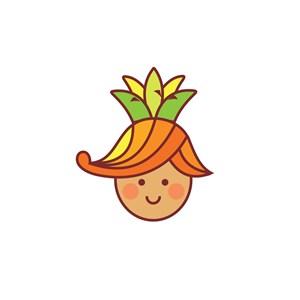 卡通笑臉水果菠蘿頭像標志設計