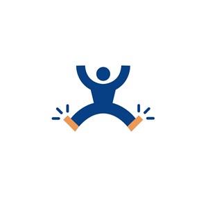 跳跃的人物运动休闲logo