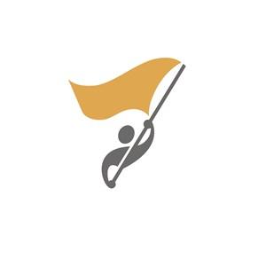举旗帜的人物运动休闲logo