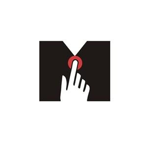 手指点M图案设计传媒logo