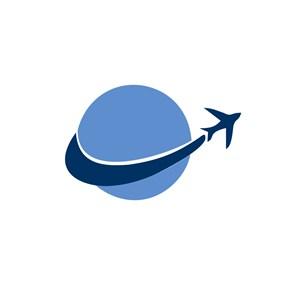 环球航行的飞机标志设计