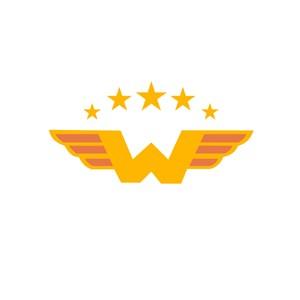 字母W翅膀标志设计素材