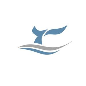 鲸鱼尾简约标志设计
