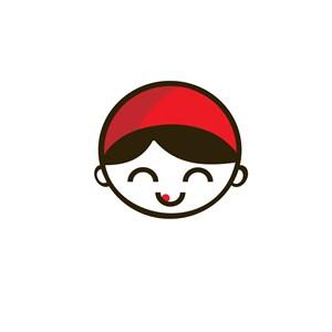 可爱女孩笑脸卡通头像logo设计