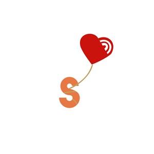 爱心字母S组合标志设计