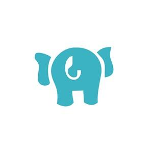 大象屁股卡通图案设计素材