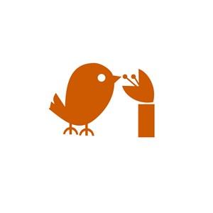 鸟语花香卡通标志设计