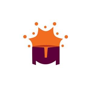 太阳字母M组合卡通标志设计