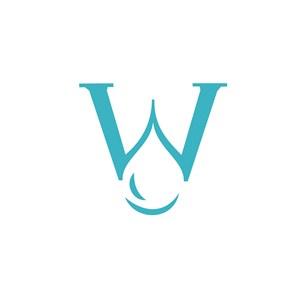 字母W水滴创意logo设计