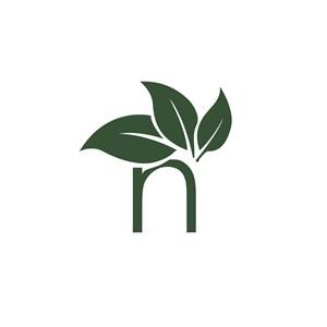 字母H绿叶标志设计素材