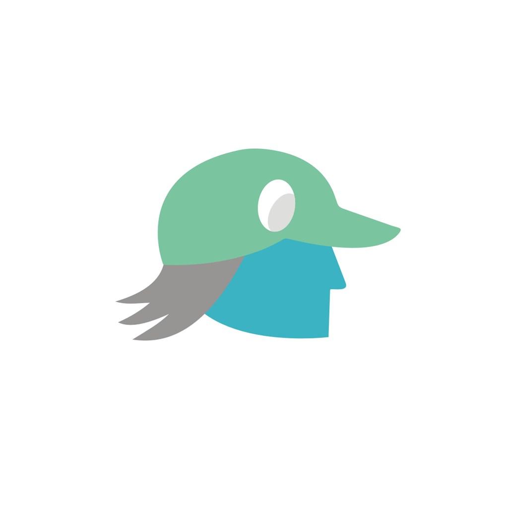 戴鸭舌帽的人标志设计素材