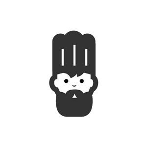 黑色廚師頭像矢量logo圖標