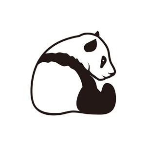 黑白大熊猫矢量logo图标