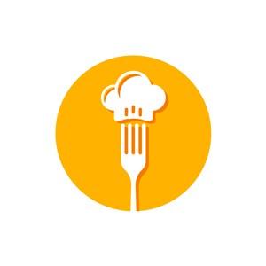 餐飲行業-叉子廚師帽矢量圖logo素材