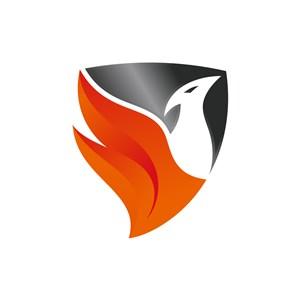 黑色橙色鸟火焰盾牌矢量logo图标