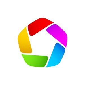 彩色五边形矢量logo图标素材下载