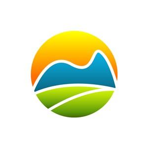 彩色太阳叶子山矢量logo图标素材下载