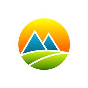 彩色太阳山树叶矢量logo图标素材下载