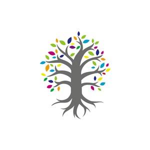 彩色树矢量logo图标素材下载
