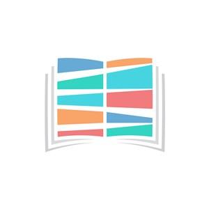 教育培训机构logo设计-彩色书本矢量logo图标素材下载