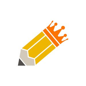 黄色铅笔皇冠矢量logo图标