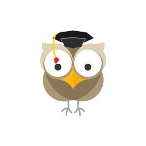 戴博士帽的猫头鹰矢量logo图标设计