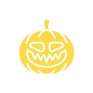 黄色南瓜万圣节搞怪矢量logo图标设计