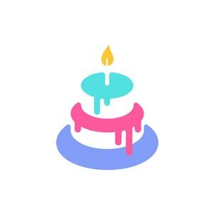彩色生日蛋糕矢量圖形圖標logo圖標素材下載