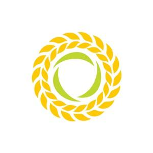 黄色麦穗圆形叶子花环矢量logo设计